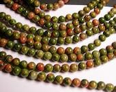 Unakite - 6 mm round beads -1 full strand - 64 beads - AA quality - RFG1033