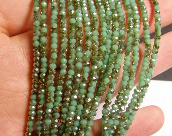 Crystal - rondelle  faceted 3mm x  2mm beads - 200 beads - AA quality - pastel green - two tone - ab - CAA2G76