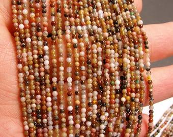 Petrified wood - 2mm round beads -1 full strand - 197 beads - quality  AA - NRG44