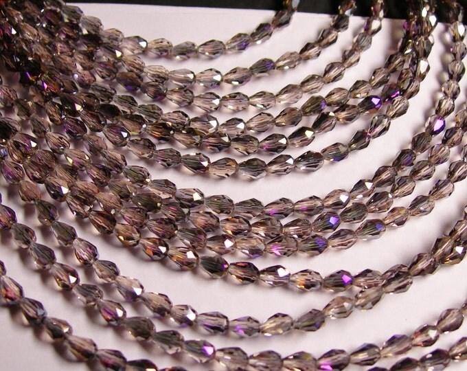 Faceted teardrop crystal beads - 100 pcs - 3mm x 5mm - sparkle mystic purple - CLGD12