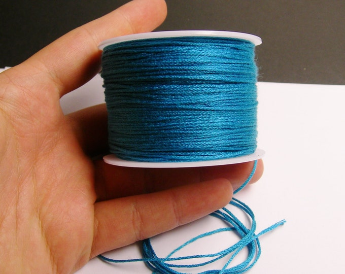 Cotton Cord - knotting - embroidery cord - 1mm - 120 meter - 390 foot - turquoise blue - CTN20
