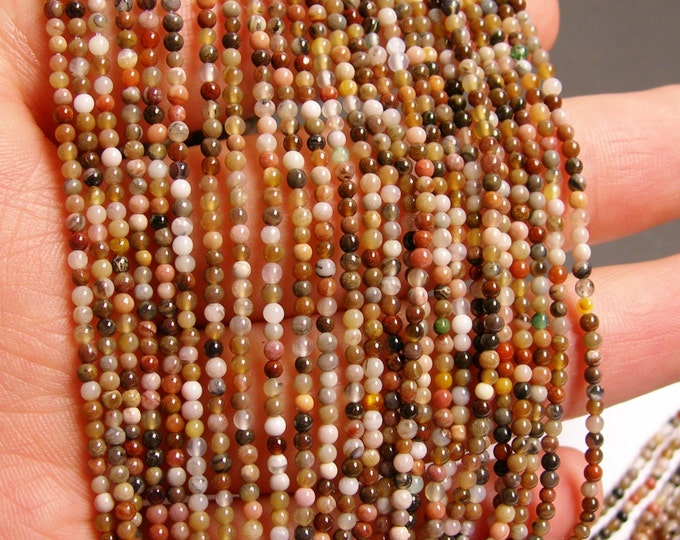 Petrified wood - 2mm round beads -1 full strand - 197 beads - quality  AA - NRG44