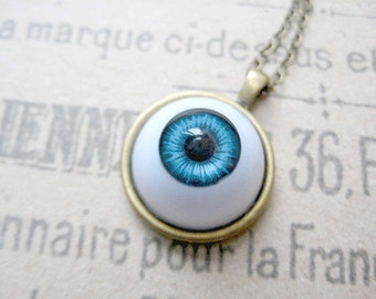 Halloween Eyeball Necklace, Dark Blue Eyeball Jewelry, Halloween Jewelry, Funky Jewelry, Scary Jewelry
