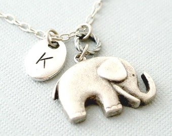 Elephant Necklace, Elephant Jewelry, Silver Elephant Pendant Necklace, Personalized Initial Elephant Necklace, Elephant handstamped Jewlery