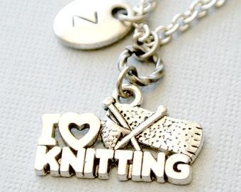 Knitting Necklace,I love Knitting Necklace,Initial Necklace,Initial Hand Stamped,Knitting Jewelry,Yarn Necklace,Knitting Needles