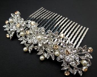Bridal Hair Comb,Pearl Bridal Hair Comb,Ivory or White Pearls,Rhinestone Hair Comb,Rhinestone Bridal Hair Comb,Golden Shadow,Pearl,MARLEY