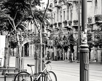 Bike photography, black and white photography, Jaffo street photography, Jerusalem photography, street photography, black and white art