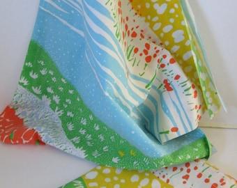 Vintage Bed Sheet Fabric, Funky Floral Paths (Half Yard-2)