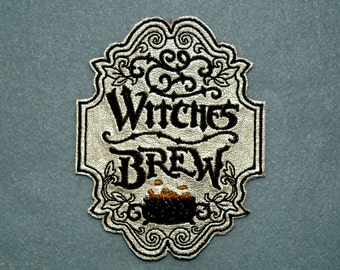"""Witches Brew Apothecary Iron on Patch on Cowhide Leather 3""""x4"""""""