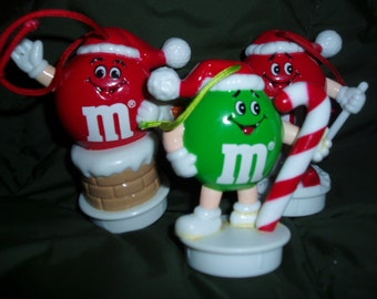 M & M Character Candy Cake Topper or 3 Christmas Tree Ornaments
