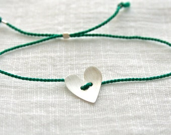 Green silk thread bracelet with Sterling Silver heart - adjustable