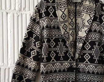 Native American Print Cropped Jacket Woven Cotton in Black and White Size S