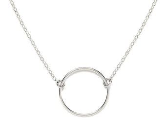Sterling Silver Circle Necklace, Simple Circle Necklace, Silver Infinity Circle Necklace, Karma Necklace, Eco Friendly Silver Necklace