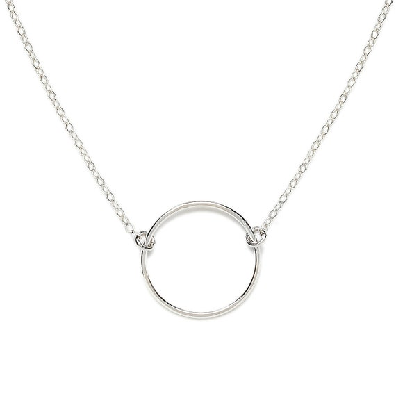 sterling silver circle necklace simple circle necklace