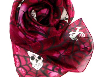 Silk scarf - gothic style - hand painted - steampunk fashion