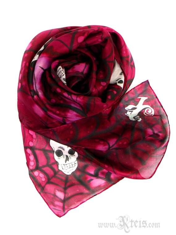 Silk scarf - gothic style - hand painted - steampunk fashion