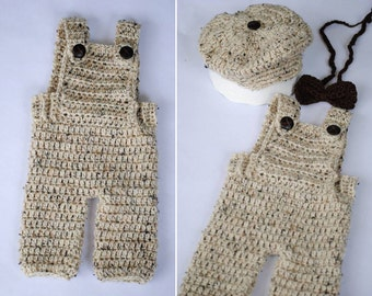Newsboy Newborn Set with Overalls, Bowtie and Hat/ Customize/ Newborn Overalls/ Crochet Overalls