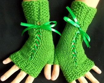 Green  Fingerless  Gloves Women Knit Corset Wrist Warmers  Acrylic
