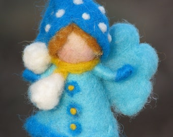 Needle felted Christmas fairy ornament Waldorf inspired blue
