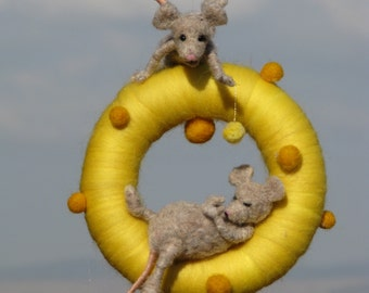 Needle felted waldorf inspired mobile naughty mouse