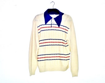 Vintage 1970's Retro Sweater with Oversized Collar and Cable Knit Front with Red White and Blue Stripes by Sears Kings Road Men's Large