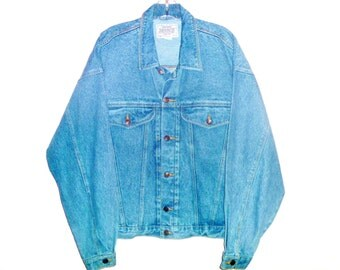 Vintage 90's Jordache Jean Jacket with Denim Hand-Dyed to Electric Blue Men's Medium