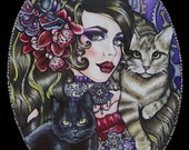 Steampunk Pin Up  girl  with cats - Archival Print  Tattoo Art  home decor Gothic Art Nouveau Lowbrow Print  fantasy illustration