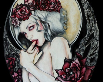In the Garden - Archival Print Multiple Sizes Dark Gothic Art Pin Up Vampire Art Nouveau Tattoo Ghost New Orleans