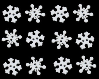 Jesse James Buttons Tiny Snow Flakes White Snowflakes   Crystals Holiday Christmas Xmas