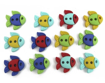 Jesse James Buttons Button  Embellishments Sew Cute Fish Fishes