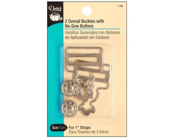 Overall Buckle Dritz No Sew Jeans Button Buttons Buckles Nickel 1""