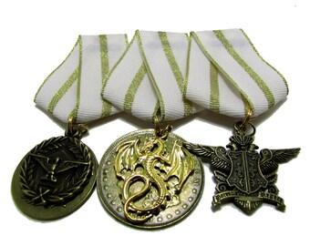 Steampunk Cosplay Medal // Custom SINGLE CHARM Medallion // White Metallic Gold Ribbon