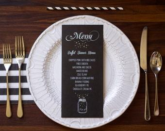 Wedding Menu Mason Jar and Fireflies Black and White, Rustic Outdoor Wedding Menu, Chalkboard Wedding Menu