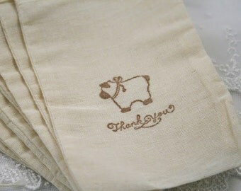 Lamb Favor Bags Thank You Muslin Bags Baby Shower Set of 10