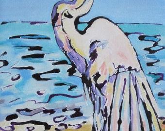 Original Oil Painting Egret