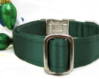 Hunter Green Satin Dog Collar