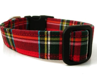 Red Plaid Dog Collar - Scottie Plaid - Black Hardware