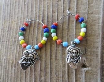Dia De Los Muertos Skeleton Charm and Beaded Hoop Earrings