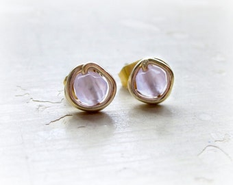 Lavender Quartz Stud Earrings, Tiny Gold Posts, Wire Wrapped Earrings, Pale Lavender Studs, Faceted Quartz, Bridesmaid Jewelry, Gold Filled