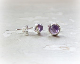 Amethyst Post Earrings, Tiny Stud Earrings, February Birthstone, Purple Post Earrings, Gemstone Studs, Sterling Posts, Amethyst Stud Earring
