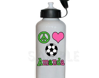 Soccer Water Bottle ,  Peace Love Soccer Personalized Water Bottle