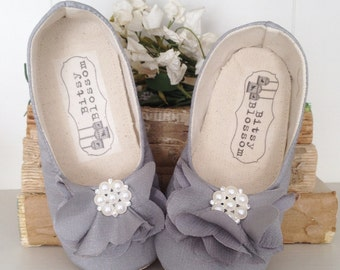 Baby Girl Shoes Toddler Girl Shoes Soft Sole Shoes Wedding Shoes Flower Girl Shoes Infant Shoes Grey Shoes Easter Shoes Summer Shoes Estella