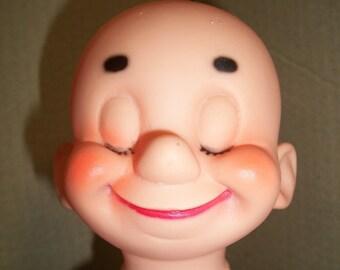 Unusual Vintage Plastic Vinyl Bald Doll Head - Closed Eyes
