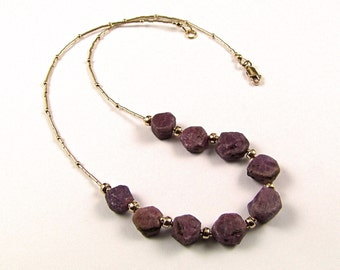 Superb Natural Raw Lavender Sapphire Necklace - N474A