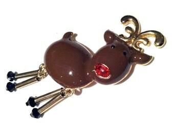 HASKELL Marked REINDEER Figural Animal Pin Brooch Red Nose Black Crystal Feet Brown Enamel Fun Vintage Designer Jewelry artedellamoda