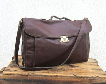 SALE Vintage Distressed Wine Leather Wine Leather Satchel Briefcase