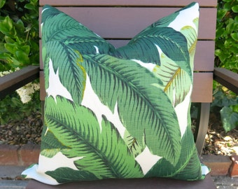 Palm Leaf Pillow Cover - Palm Tree Motif - Green - Dark Green - Light Green - Palm Tree Tropcial Pillow Cover - Outdoor Pillow