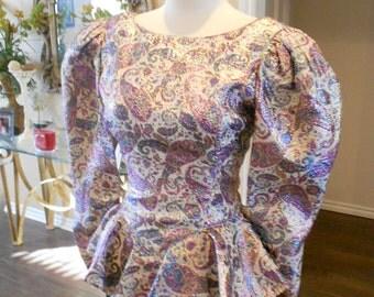 80s Peplum Dress / 80s Paisley Peplum Dress / Metallic Paisley Dress / Size 6