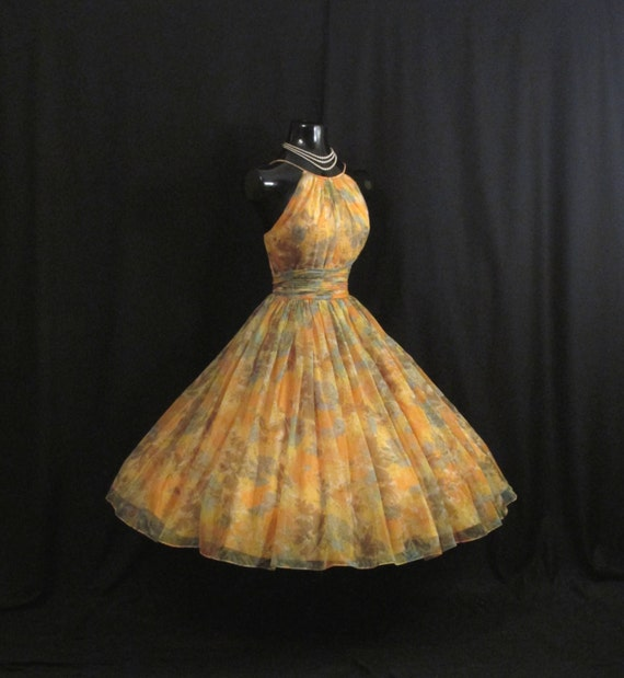 Saks Fifth Avenue Wedding Gowns: Vintage 1950's 50s Saks 5th Avenue Halter Peach By