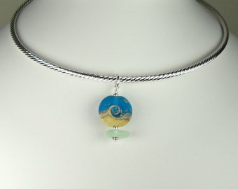 GENUINE Sea Glass Necklace Starry Night Lampwork Bead On Silver Neck Wire